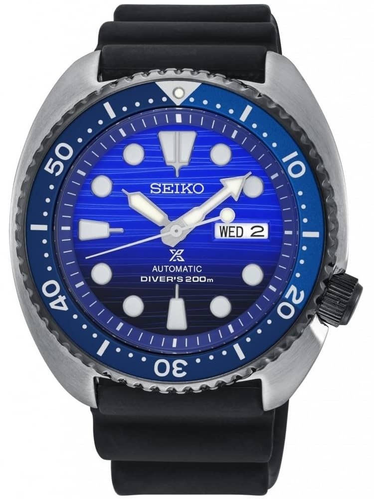 Seiko Mens Prospex Save The Ocean Special Edition Automatic Blue Rubber Strap Watch