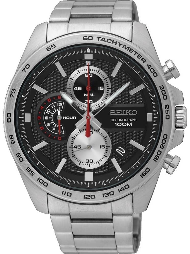Seiko Mens Chronograph Quartz Black Dial Bracelet Watch