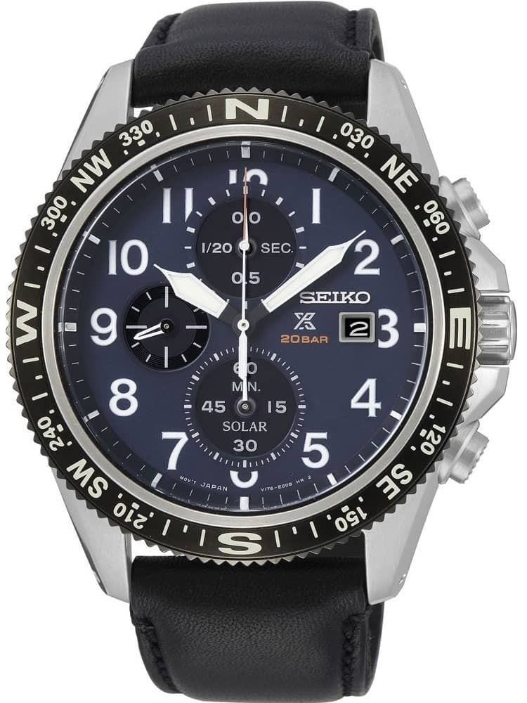 Seiko Mens Prospex Solar Stainless Steel Blue Chronograph Dial Black Leather Strap Watch