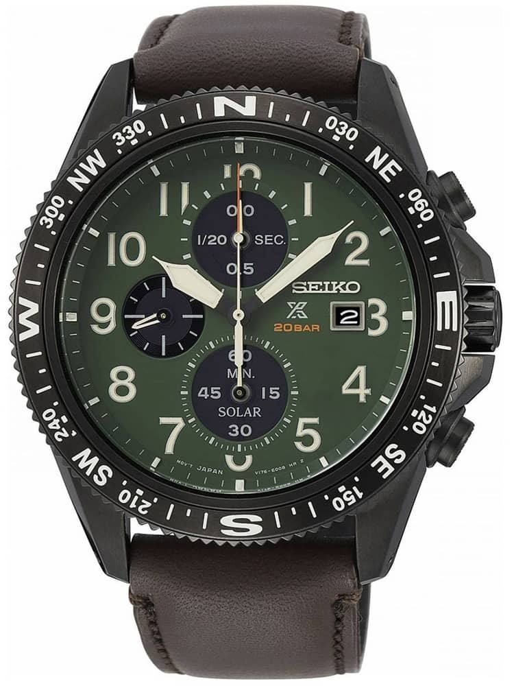 Seiko Mens Prospex Solar Stainless Steel Green Chronograph Dial Brown Leather Strap Watch