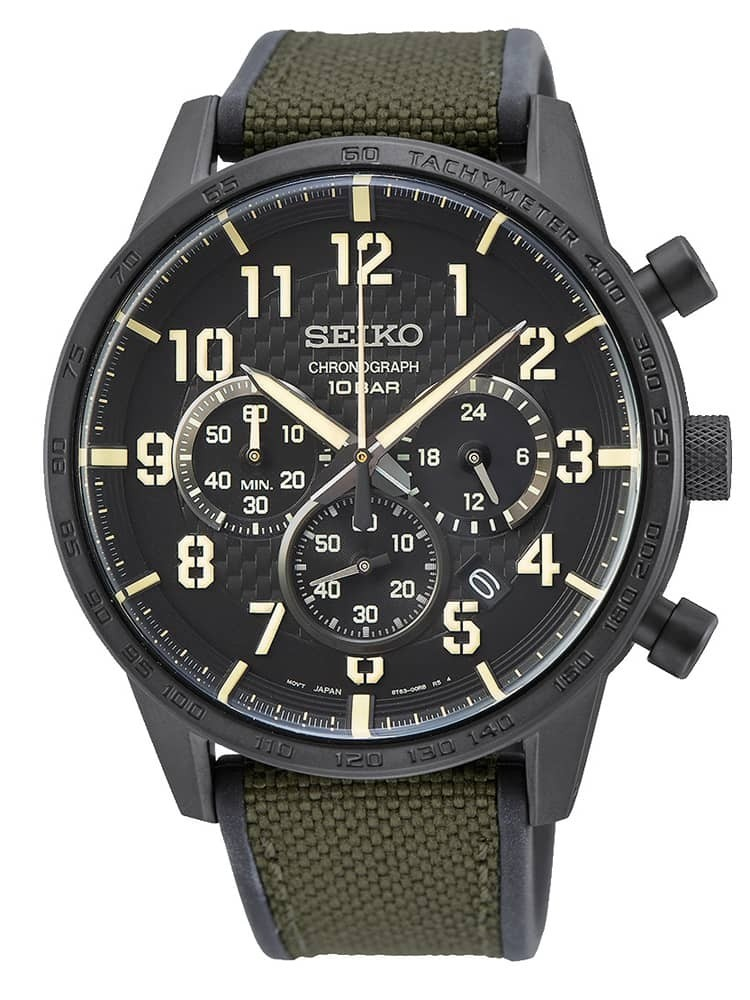 Seiko Mens Neo Sports Textured Black Chronograph Dial Green Canvas Rubber Strap Watch