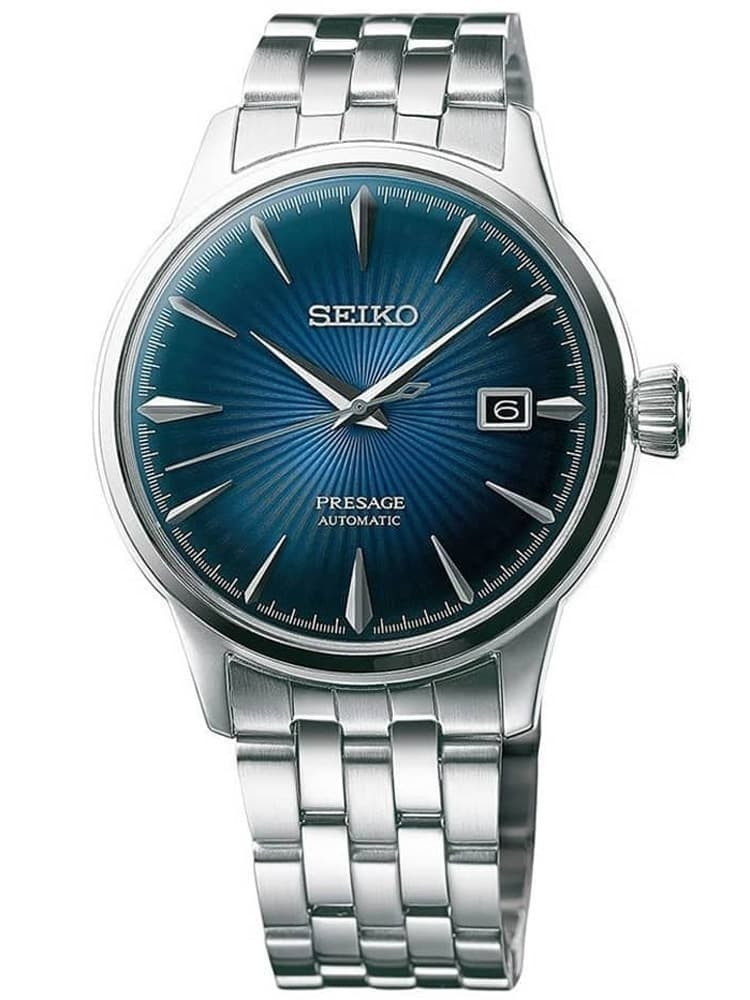 Seiko Mens Presage Automatic Blue Bracelet Watch