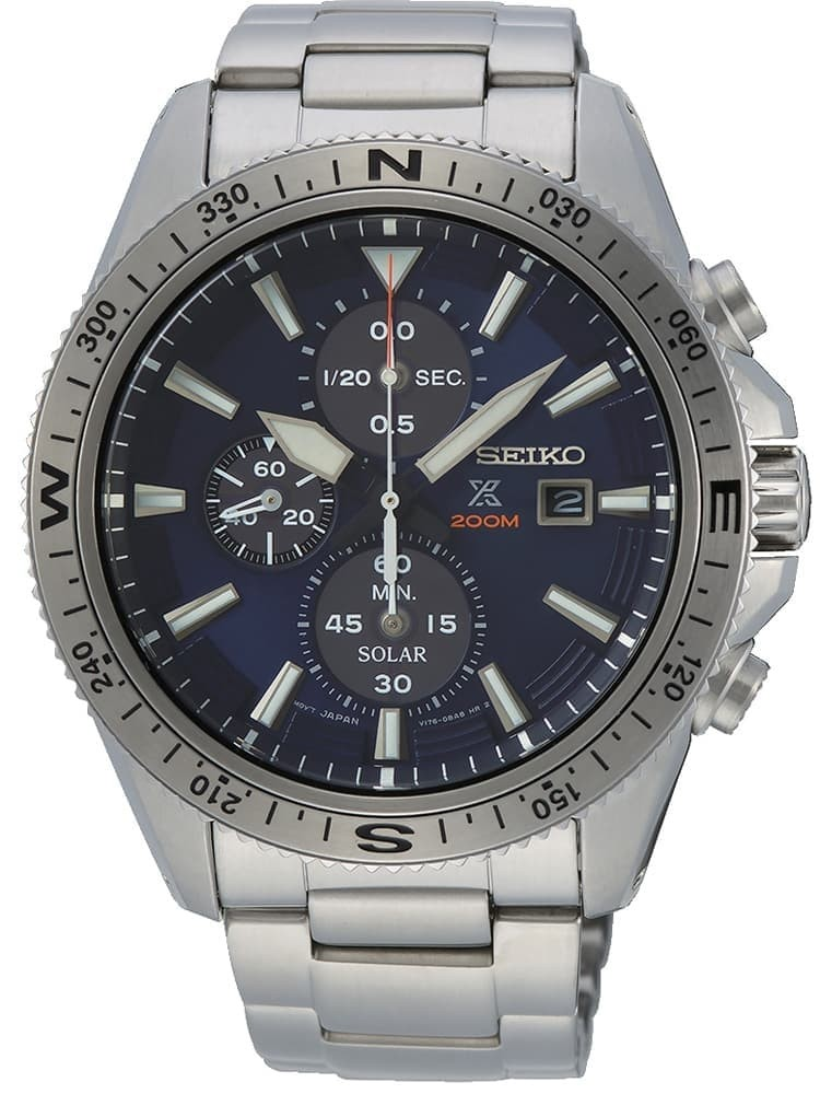 Seiko Mens Prospex Solar Chronograph Blue Bracelet Watch