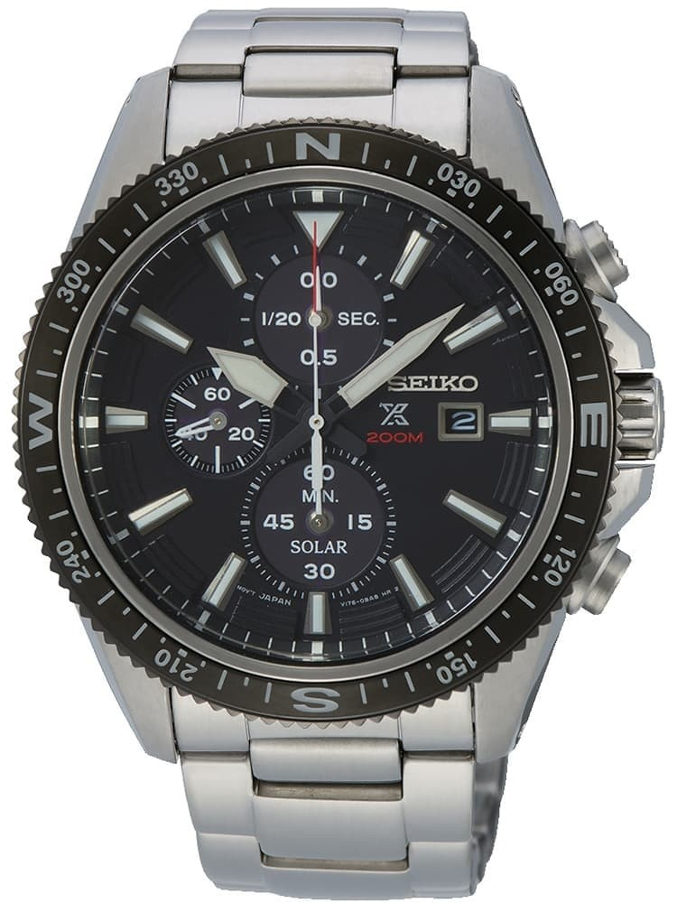 Seiko Mens Prospex Solar Chronograph Black Bracelet Watch
