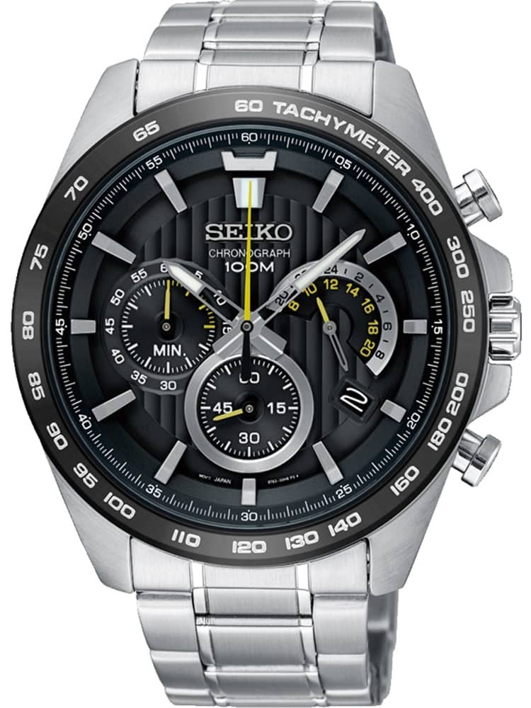 Seiko Mens Neo Sports Black Dial Stainless Steel Bracelet Watch
