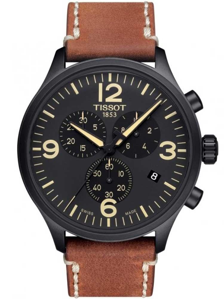 Tissot Mens T-Sport Chrono XL Brown Leather Strap Watch