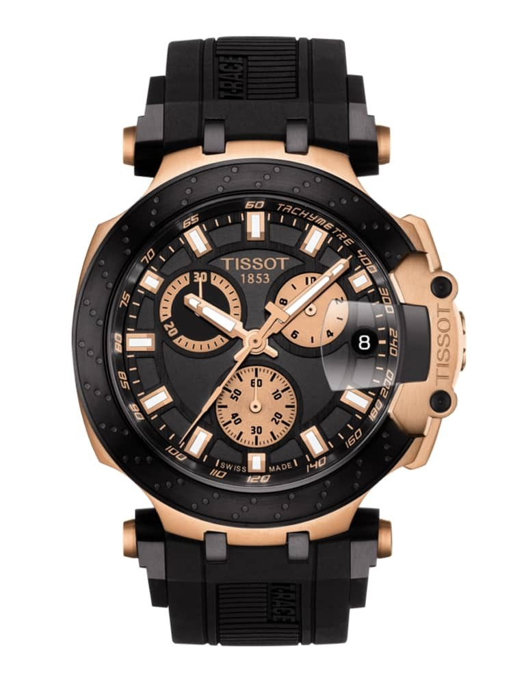 Tissot Mens T-Race Chronograph Rose Gold Plated Black Rubber Strap Watch