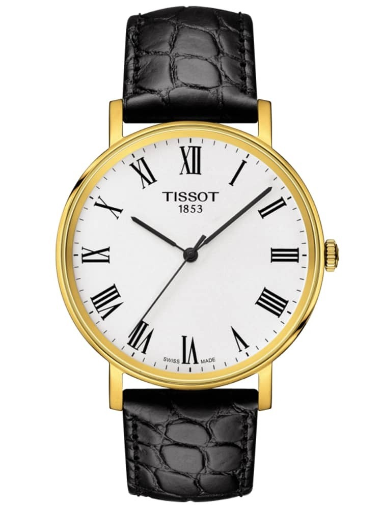 Tissot Mens T-Classic Everytime Medium Gold Plated White Dial Black Leather Strap Watch