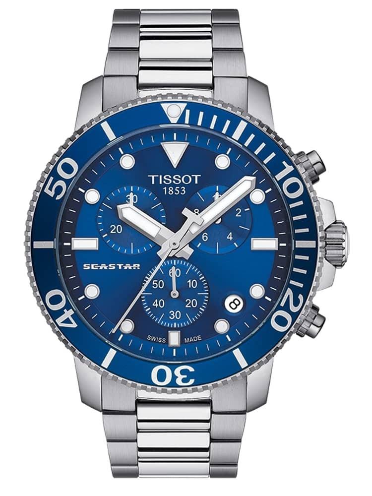 Tissot Mens T-Sport Seastar 1000 Chronograph Blue Dial Stainless Steel Bracelet Watch