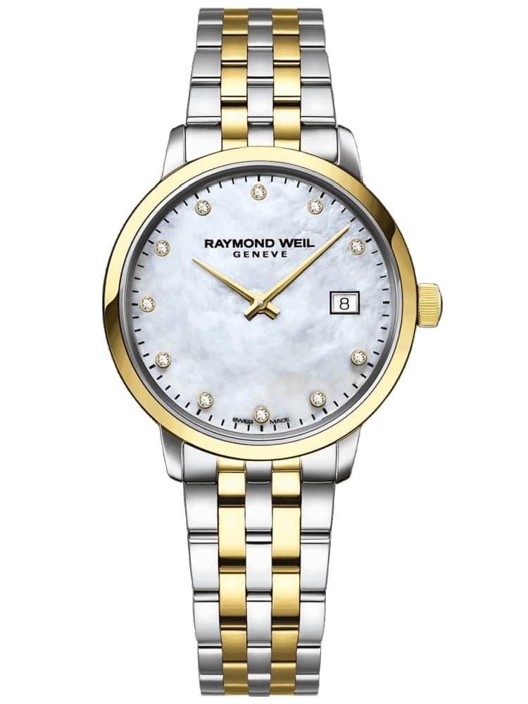 Raymond Weil Ladies Toccata Two Tone Diamond Set Mother Of Pearl Dial Bracelet Watch