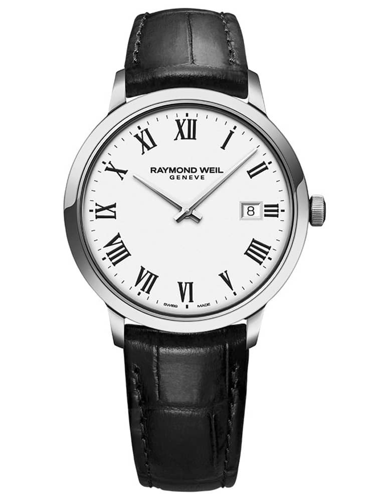 Raymond Weil Mens Toccata Classic White Roman Numeral Dial Black Leather Strap Watch