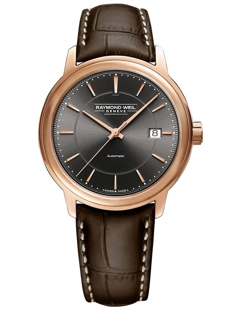 Raymond Weil Mens Maestro Automatic Brown Leather Strap Watch