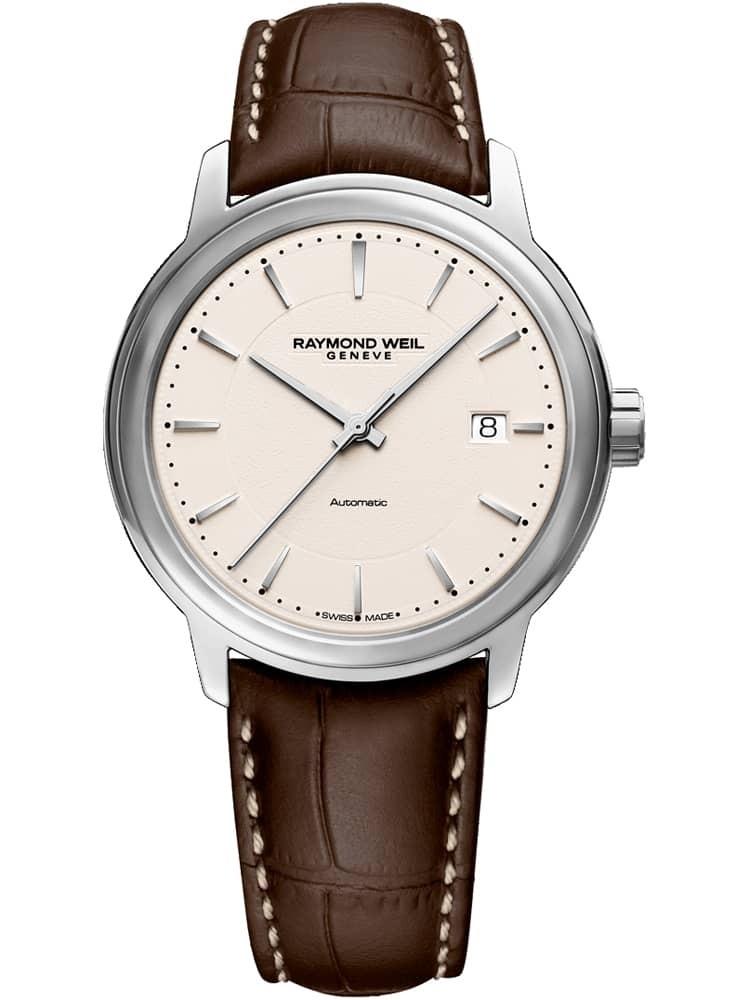Raymond Weil Maestro Brown Leather Strap Watch