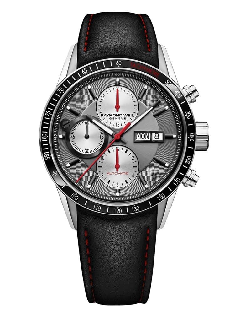 Raymond Weil Mens Freelancer Chronograph Black Leather Strap Watch