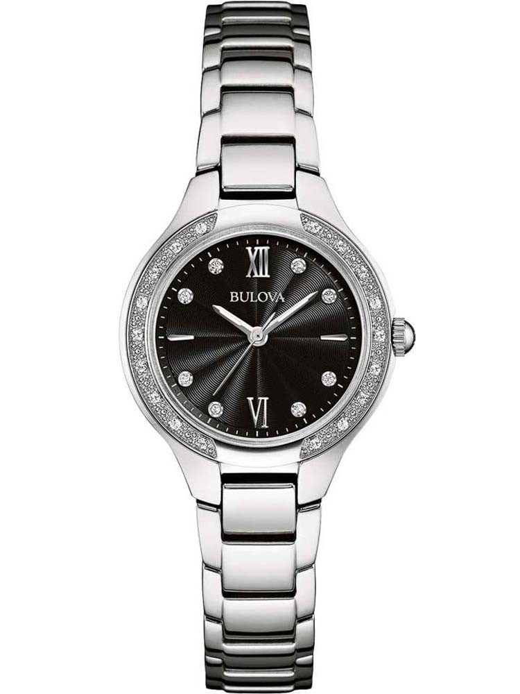 Bulova Ladies Diamond Black Dial Watch 96w207