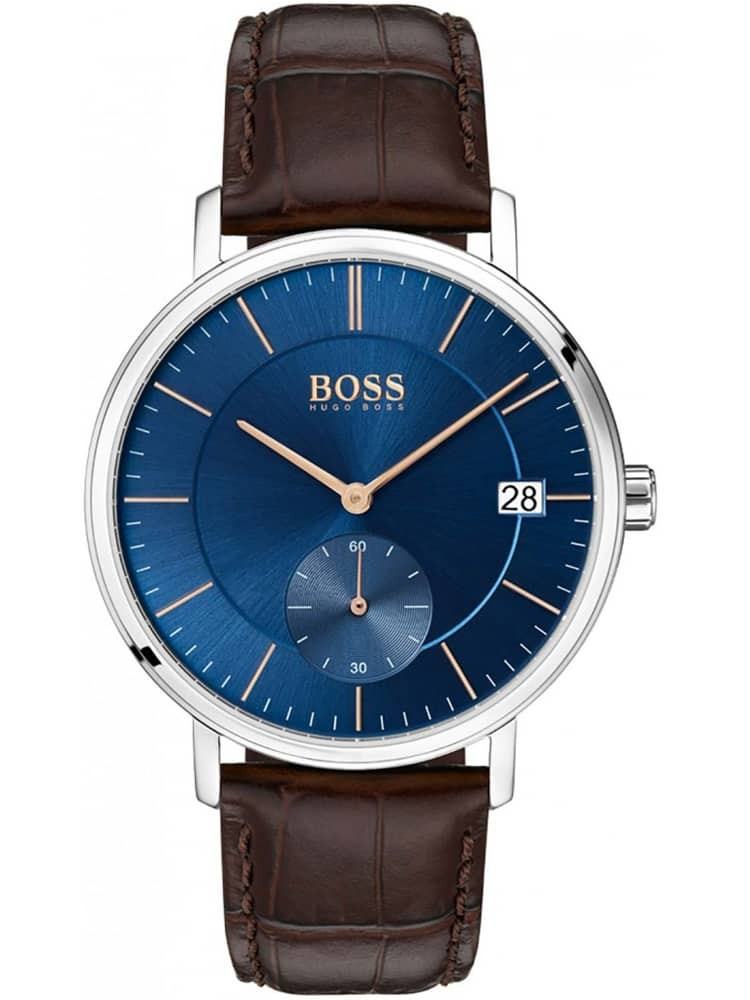 BOSS Mens Corporal Brown Leather Strap Watch