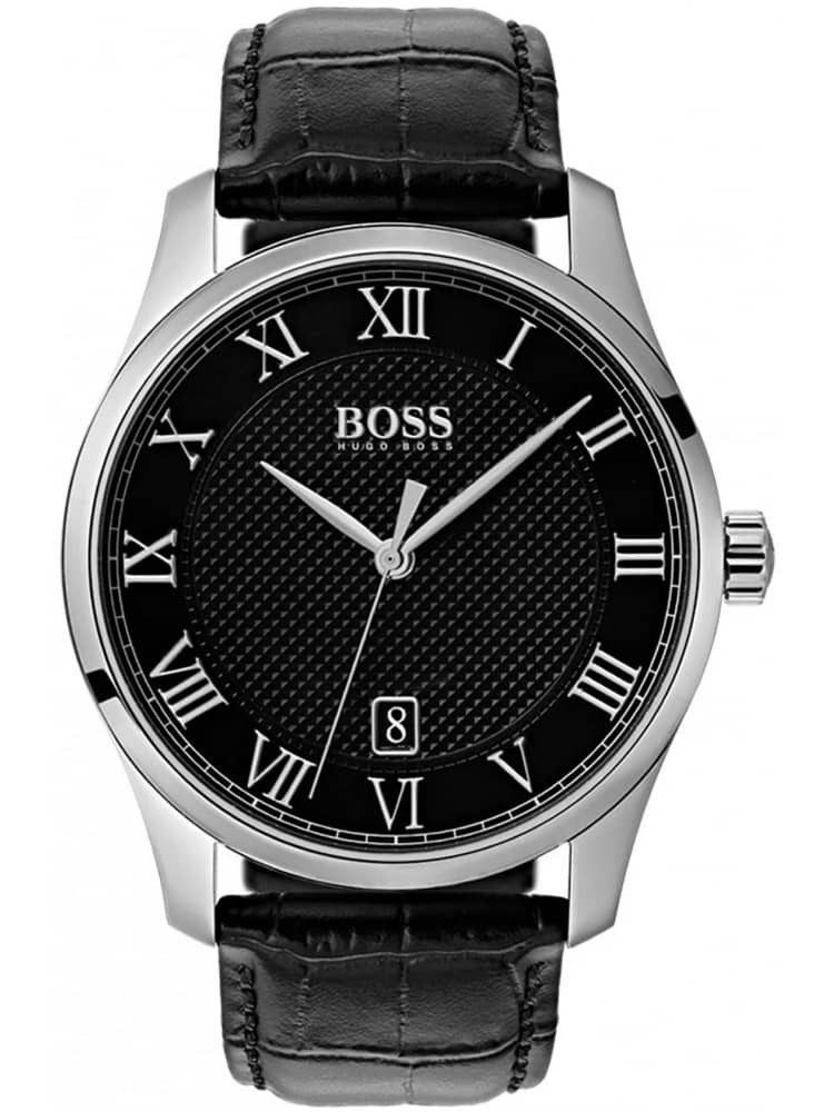 BOSS Mens Master Black Leather Strap Watch