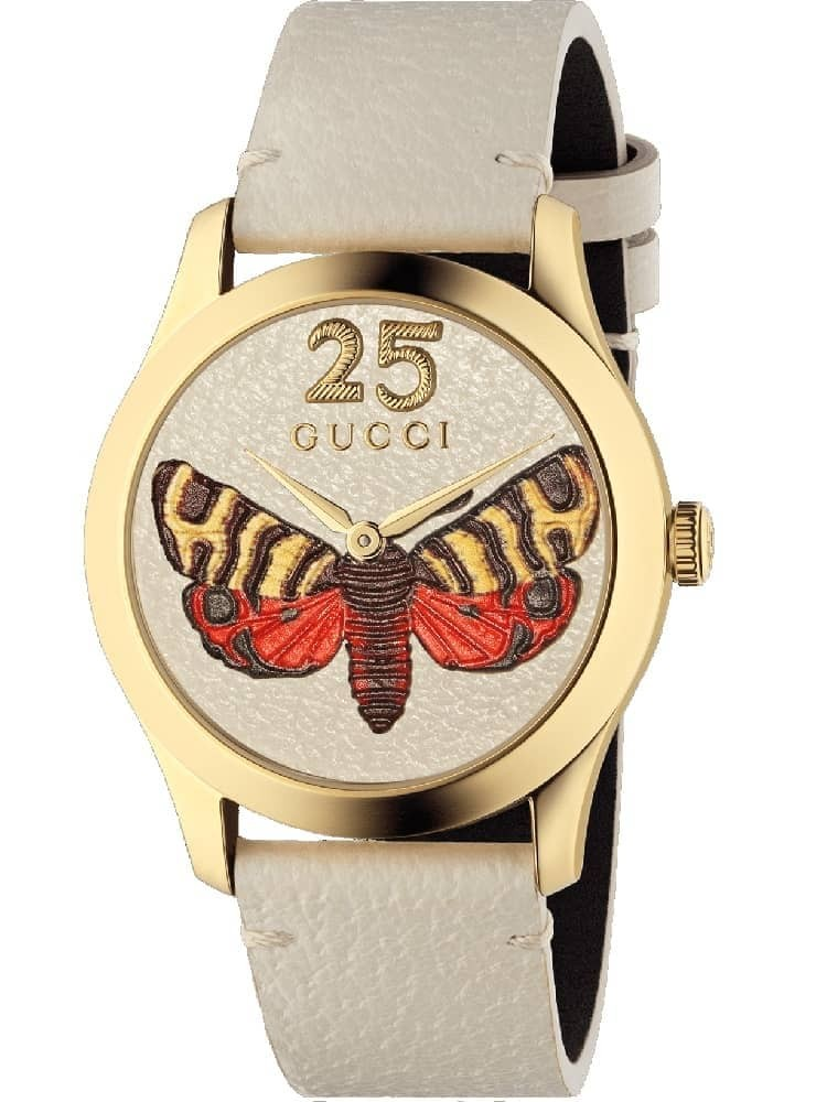 ddd37eeb6 GucciLadies G-Timeless Gold Plated Moth Dial White Leather Watch YA1264062