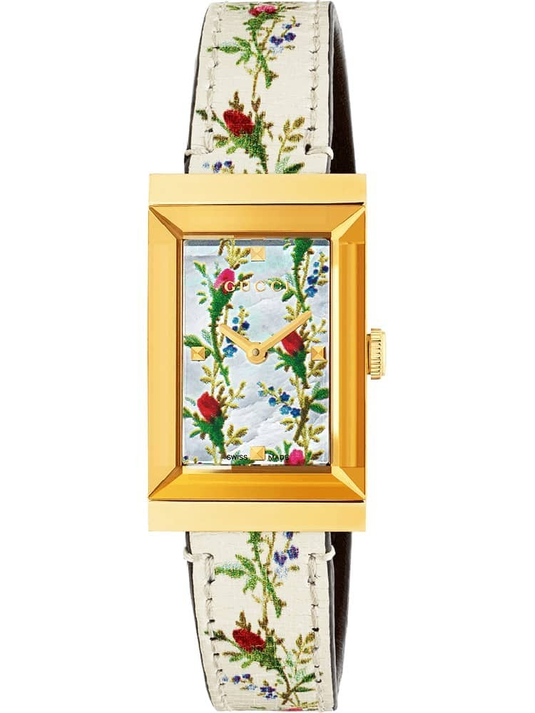 Gucci Ladies G-Frame Gold Plated Rectangle Small Bloom Strap Watch