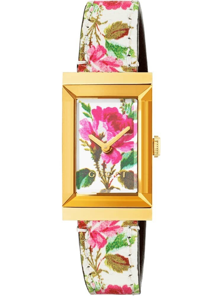 Gucci Ladies G-Frame Gold Plated Rectangle Bloom Strap Watch