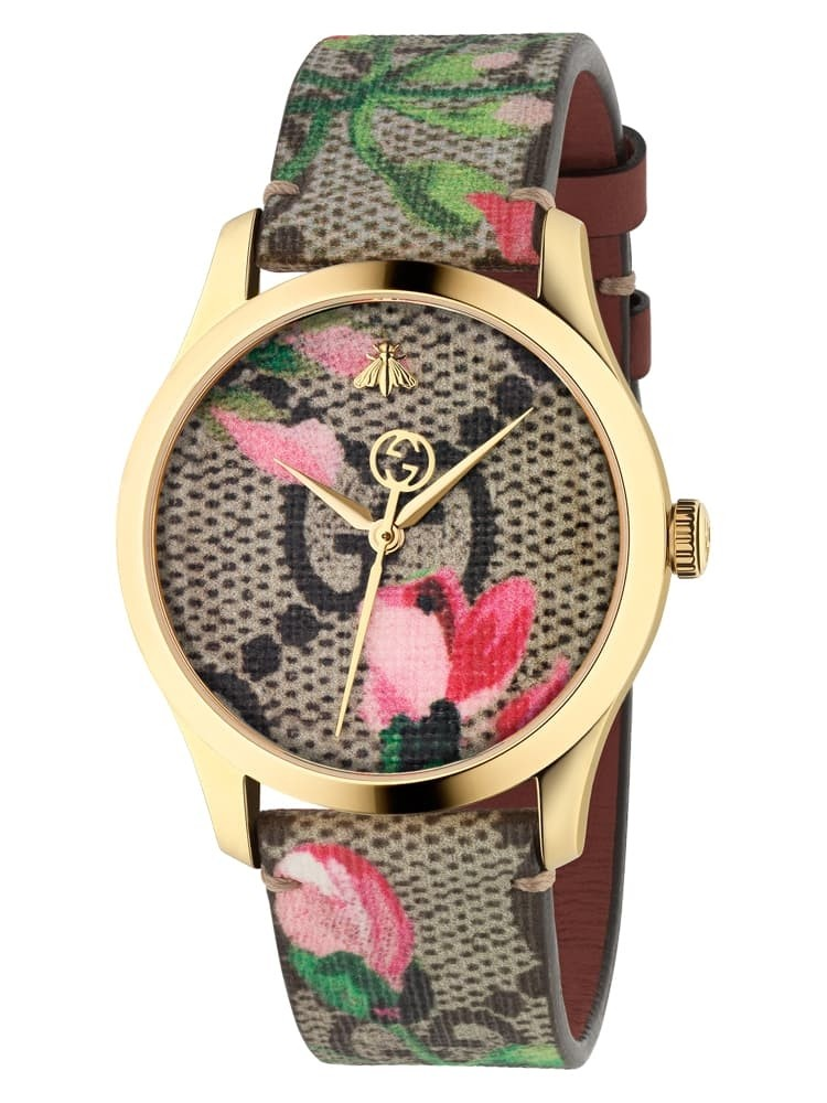 e1395bbb1aa Gucci Ladies G-Timeless Gold Plated Pink Blooms Leather Strap Watch  YA1264038A