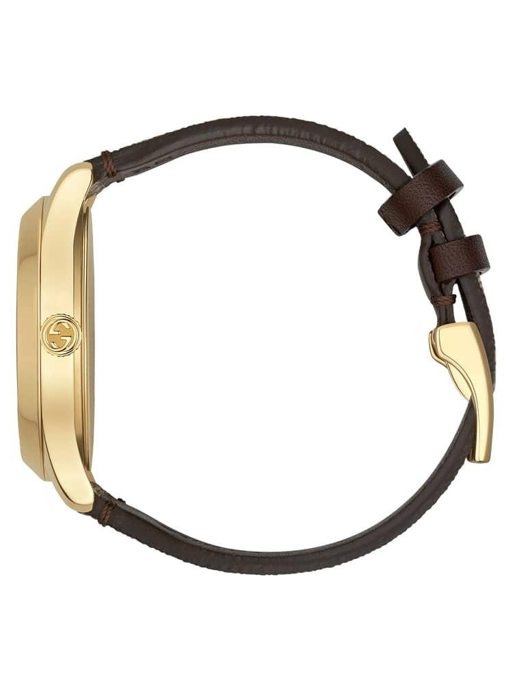 f01c8d972 GucciLadies G-Timeless Gold Plated GG Bee Motif Brown Leather Strap Watch  YA1264068A