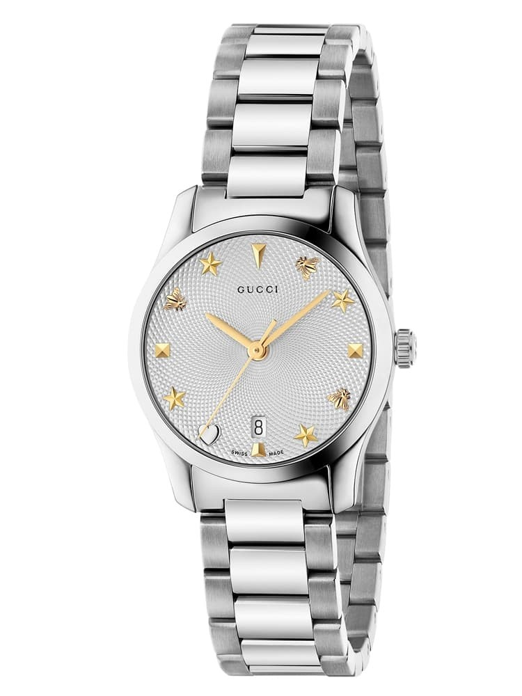 Gucci Ladies G-Timeless Small Stainless Steel Bracelet Watch