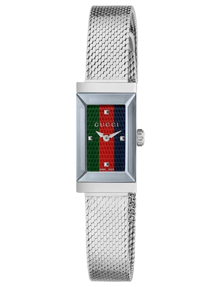 Gucci Ladies G Frame Stainless Steel Rectangle Dial Mesh Strap Watch
