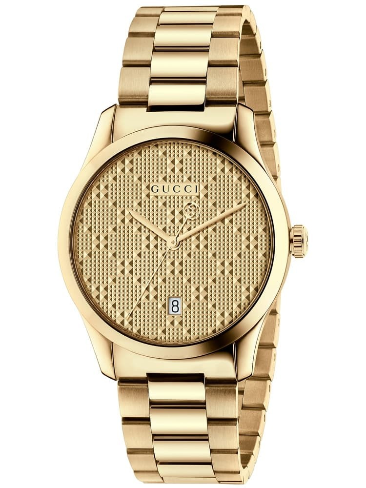 Gucci G-Timeless Gold Plated Patterned Dial Bracelet Watch