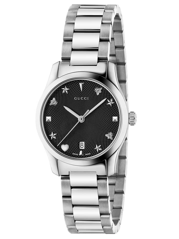 Gucci Ladies G-Timeless Stainless Steel Small House Motif Black Dial Bracelet Watch
