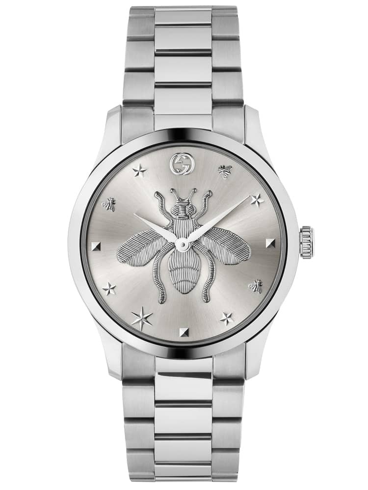 Gucci Ladies G-Timeless Stainless Steel Silver Bee Motif Dial Bracelet Watch