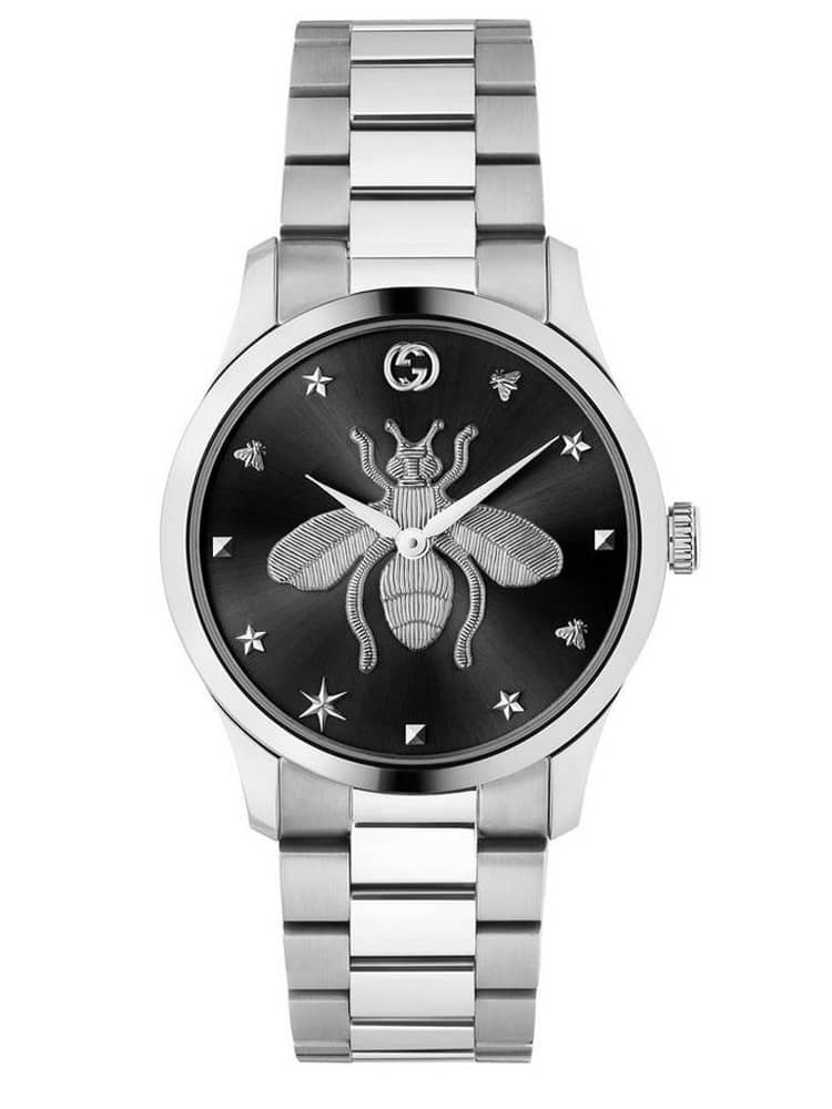 Gucci Ladies G-Timeless Black Dial Bee Motif Bracelet Watch