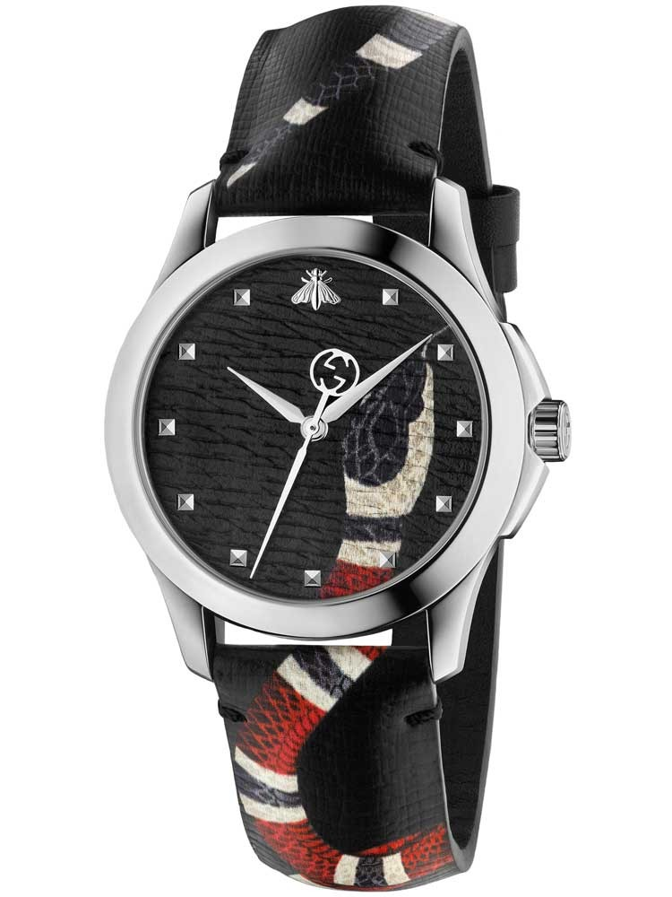 Gucci mens black snake leather strap watch ya1264007 for Leather strap watches