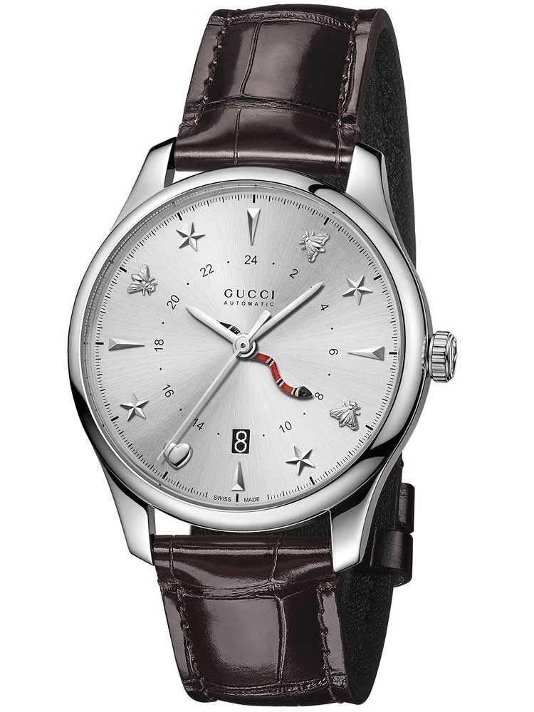 Gucci Mens Brown Leather Strap Watch