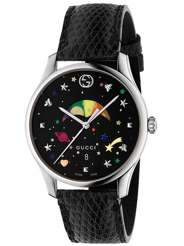 Gucci Mens Moonphase Black Leather Strap Watch