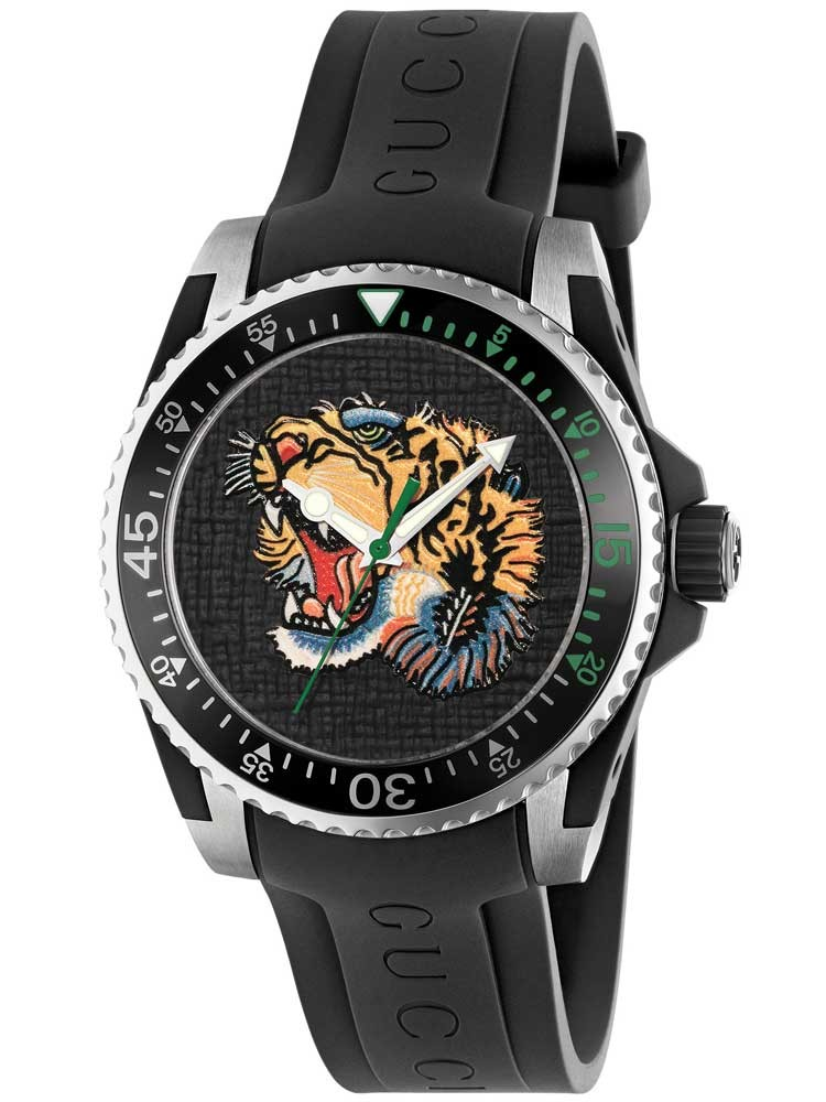 gucci mens dive tiger black rubber strap watch ya136318