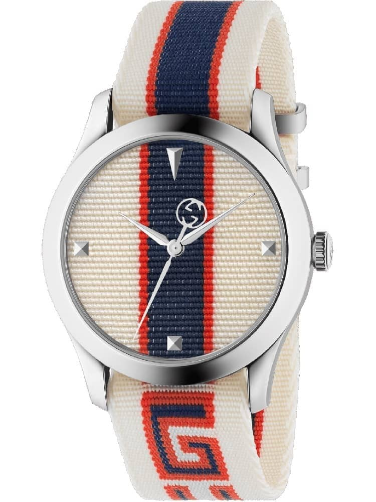 d83239b633c GucciMens G-Timeless White Multicolor Fabric Strap Watch YA1264071