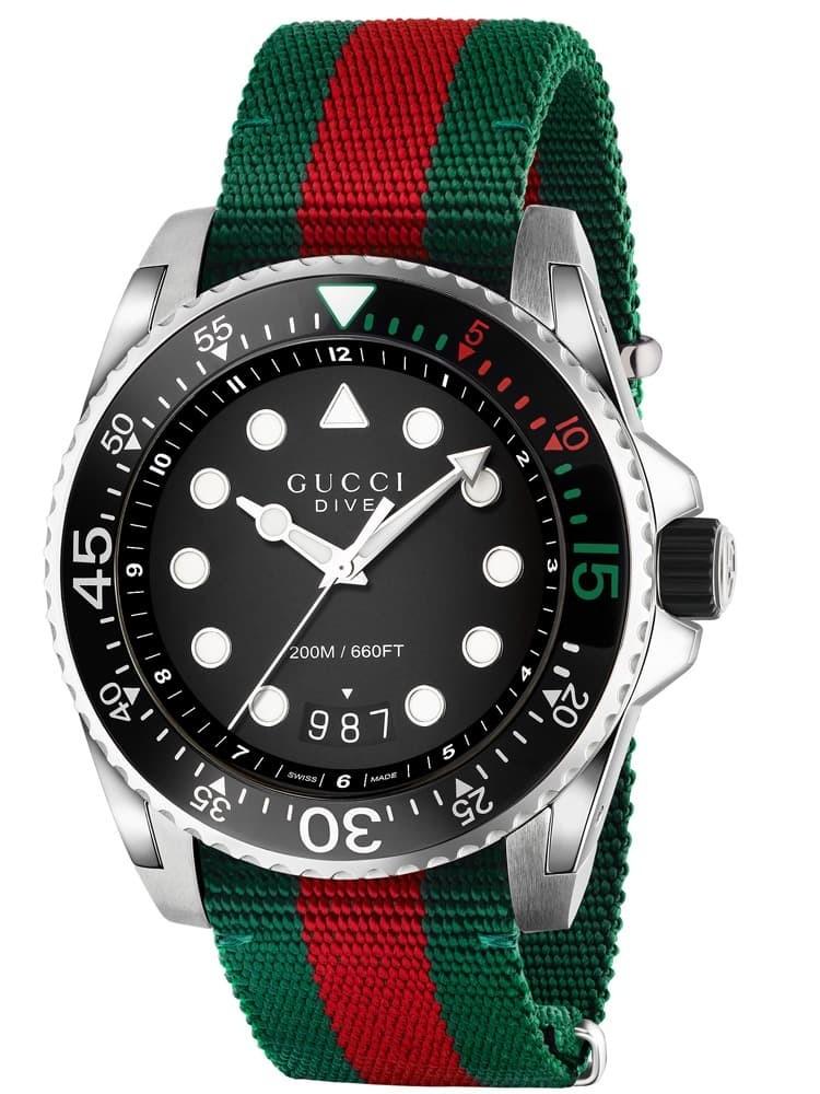 Gucci Dive Black Dial Multicolour Fabric Strap Watch Ya136209a