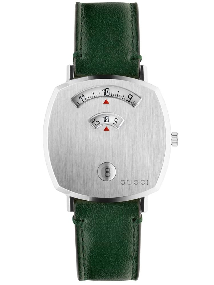 Gucci Ladies Grip Stainless Steel Covered Dial Green Leather Strap Watch