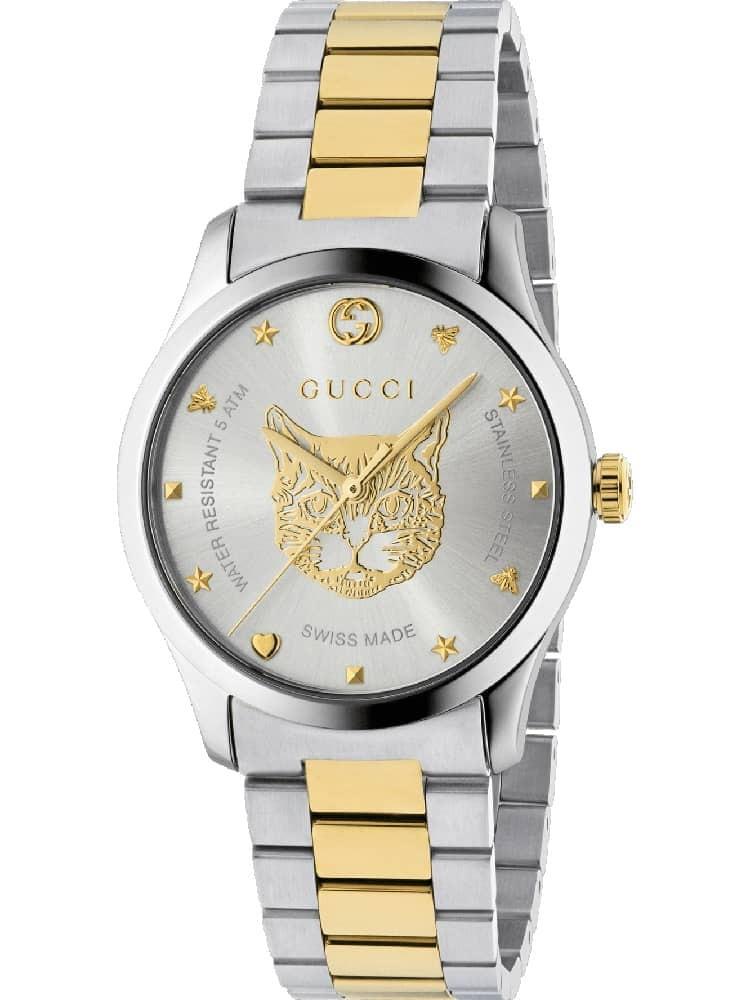 3b482c949b2 Gucci Mens G-Timeless Mystic Cat Dial Yellow Gold Watch YA1264074