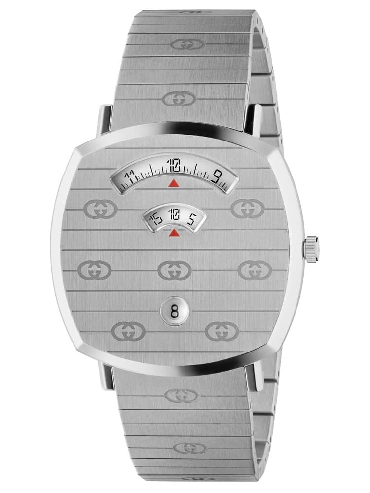 Gucci Mens Grip Stainless Steel Covered Dial Bracelet Watch
