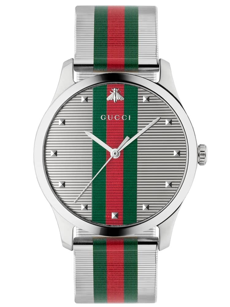Gucci Mens G-Timeless Stainless Steel Green and Red Mesh Strap Watch