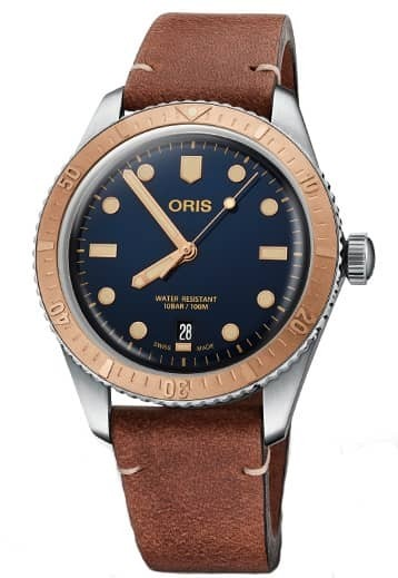 Oris Mens Divers Sixty-Five Brown Leather Strap Watch