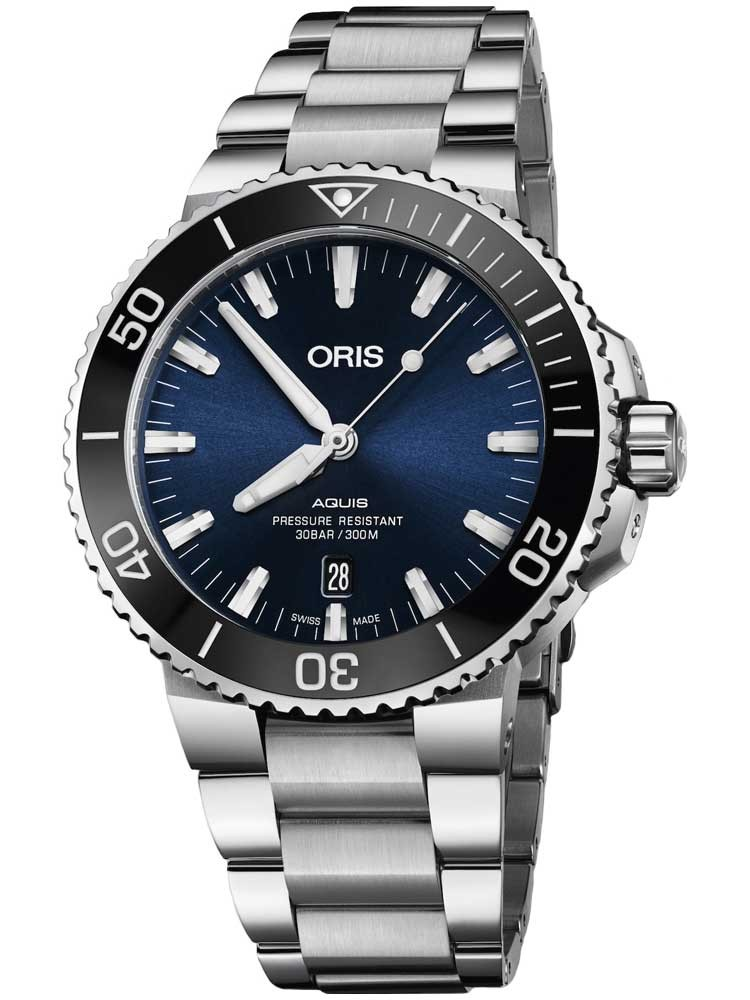 Oris Mens Aquis Date Blue Bracelet Watch