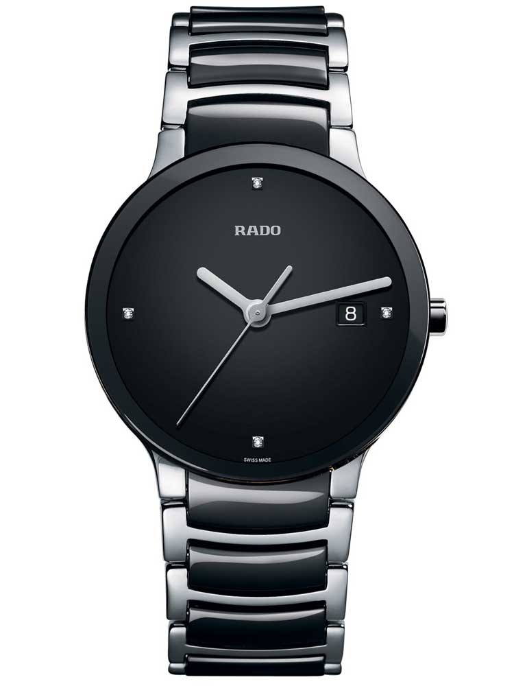 Rado Mens Centrix Diamonds Jubile Quartz Black and Silver Ceramic Bracelet Watch