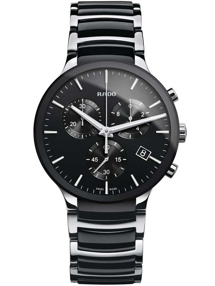 Rado Mens Centrix Chronograph Quartz Black and Silver Ceramic Bracelet Watch