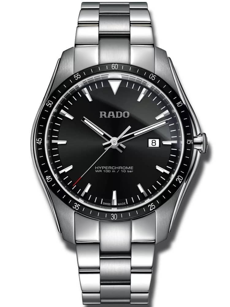 Rado Mens HyperChrome Quartz Black Dial Bracelet Watch