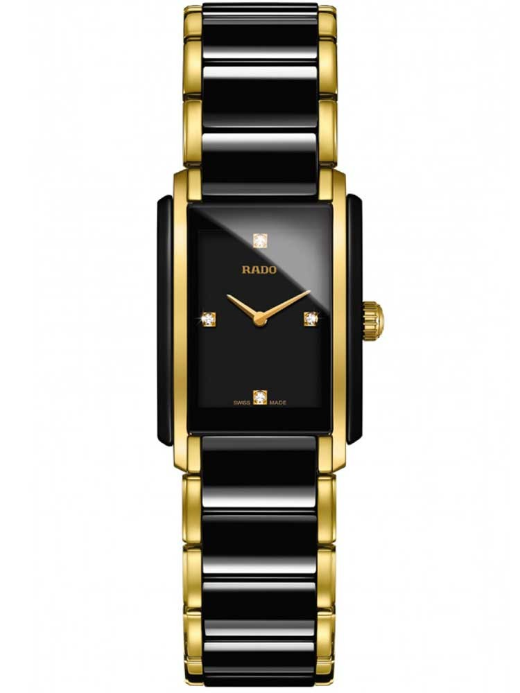 Rado Ladies Integral Diamonds Quartz Black and Gold Ceramic Bracelet Watch