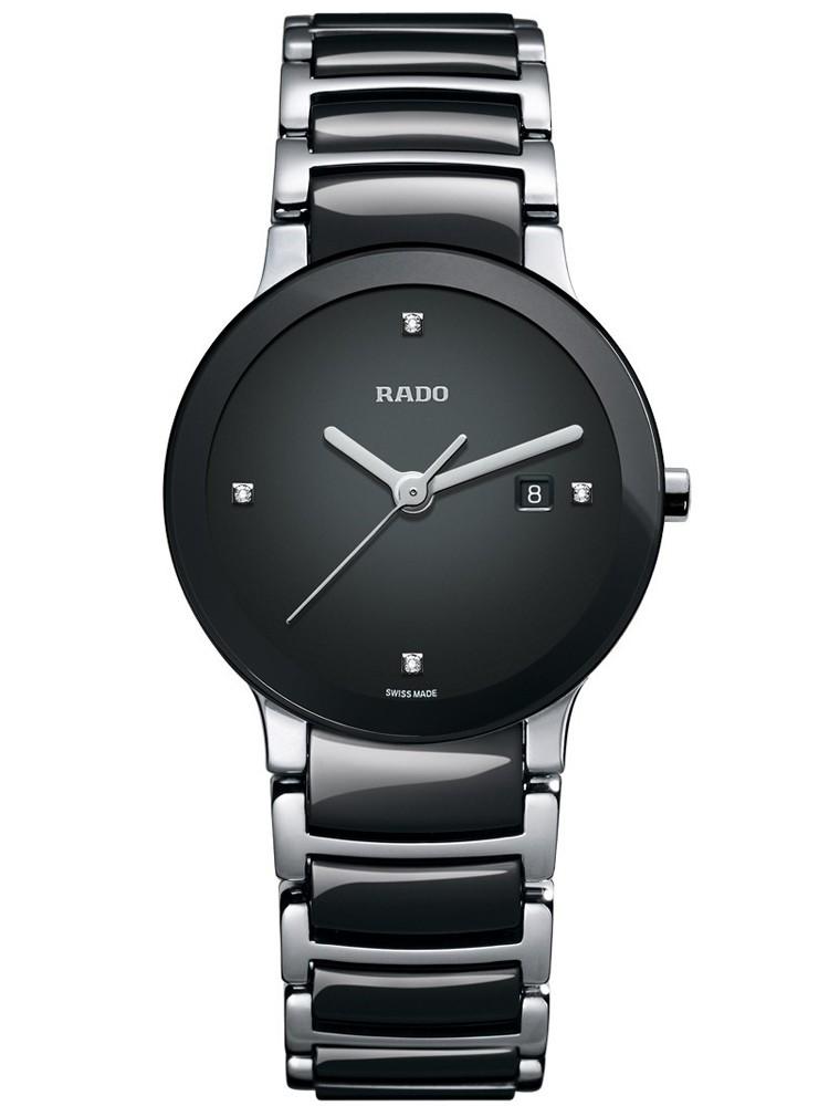 Rado Ladies Centrix Diamonds Jubile Quartz Black and Silver Ceramic Bracelet Watch