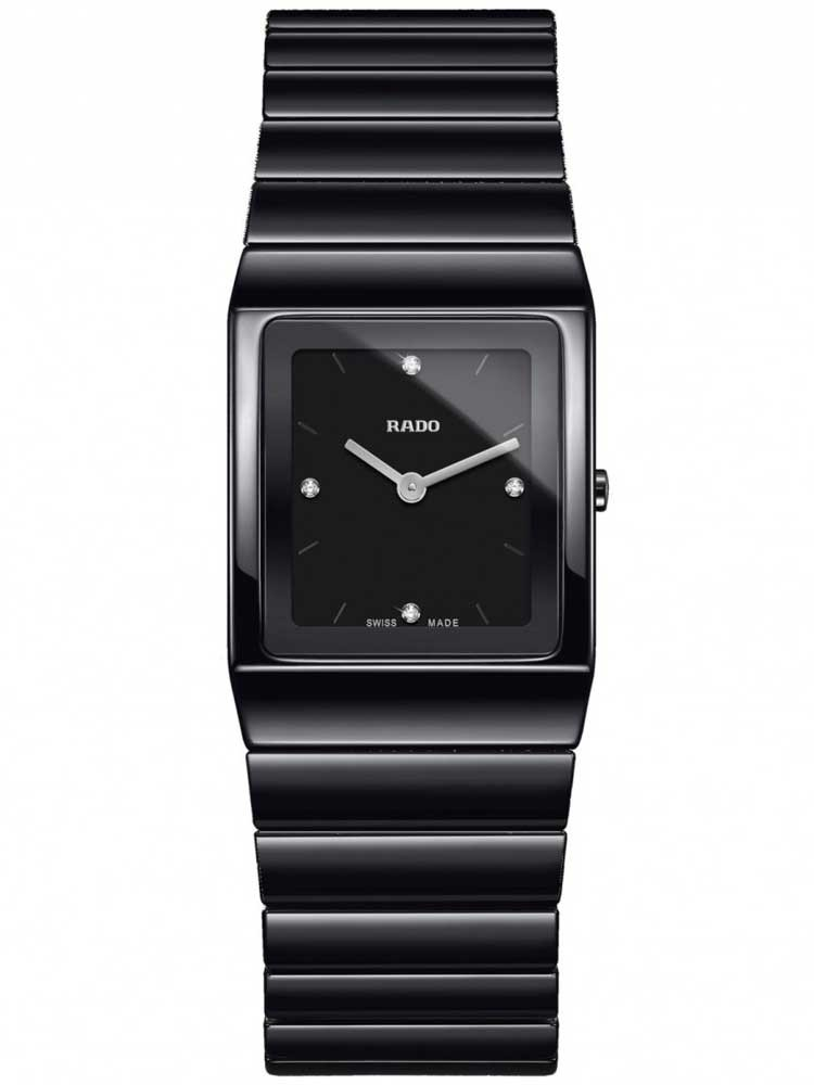Rado Ladies Ceramica Diamonds Quartz Black Ceramic Bracelet Watch